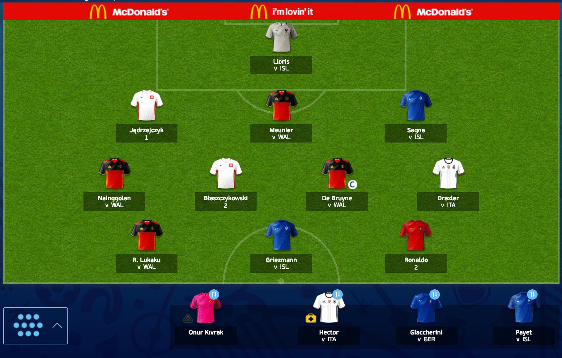 Team of Euro Fantasy Scout: Belgium vs Wales