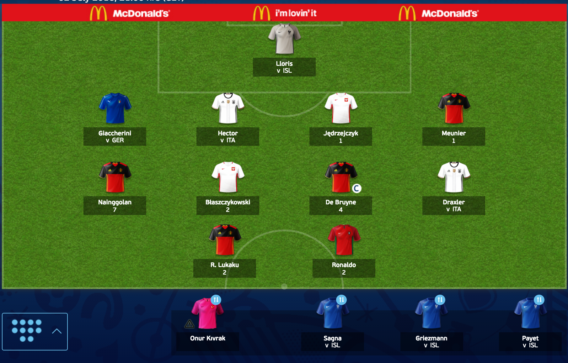 Team of Euro Fantasy Scout: Germany vs Italy