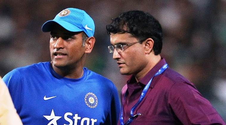 MS Dhoni, captain, of India chats with Sourav Ganguly during the 3rd Paytm Freedom Trophy Series T20 International match between India and South Africa held at Eden Gardens Stadium in Kolkata, India on the 8th October 2015 Photo by Ron Gaunt/ BCCI/ Sportzpics