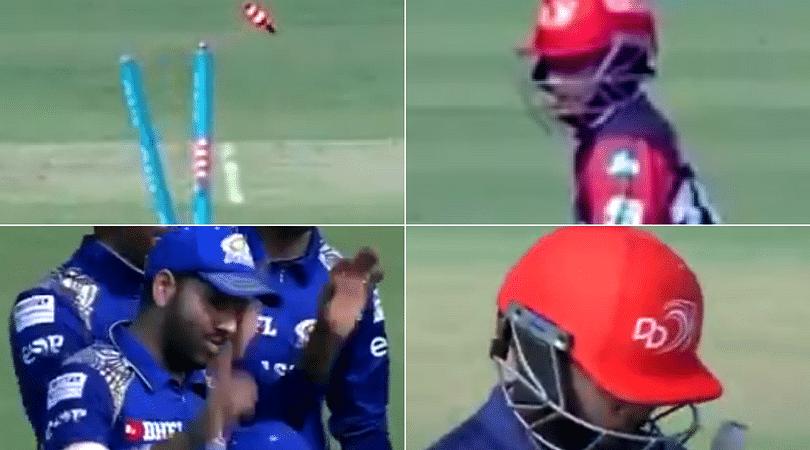 Prithvi Shaw loses his wicket after school boy error against MI
