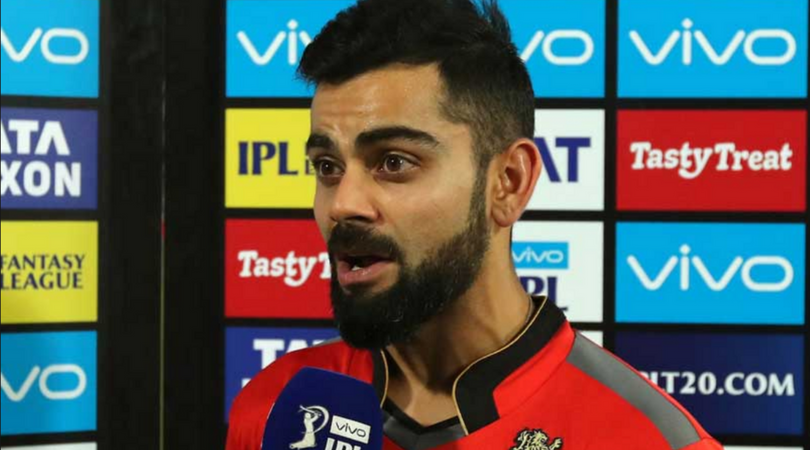 A confused Virat Kohli stares Danny Morrison in the RCB-SRH match
