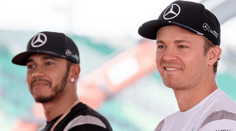 Vettel mimics the Rosberg-Hamilton hat incident