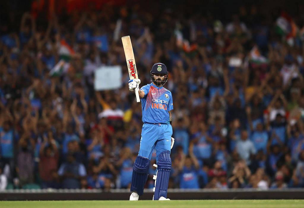 Virat Kohli hits a six down the ground