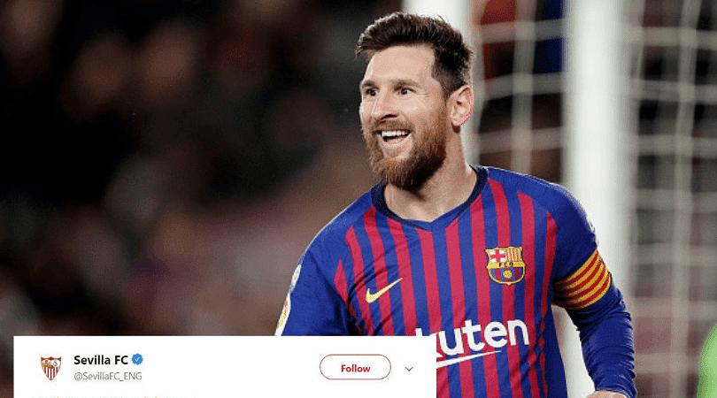 Sevilla tweet about Lionel Messi