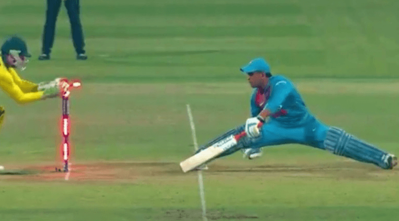 Dhoni's gymnastic move saves him from getting stumped