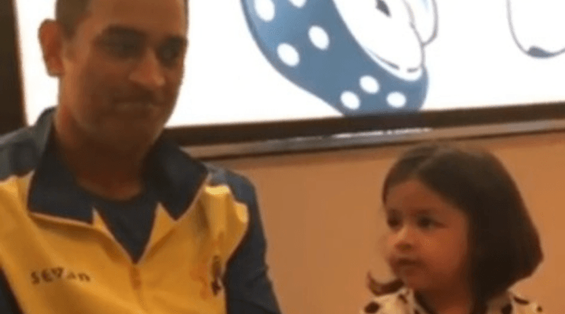 MS Dhoni plays with daughter Ziva Dhoni