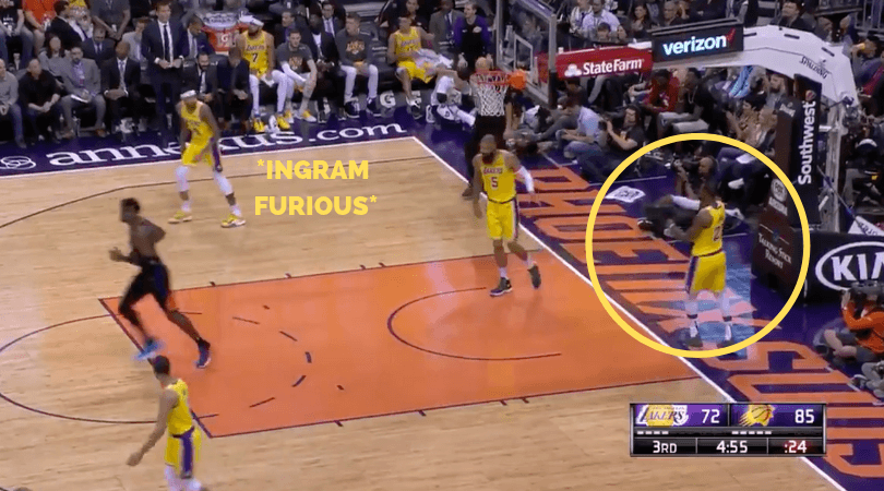 WATCH: LeBron James causes turnover by hitting backboard in loss vs Suns