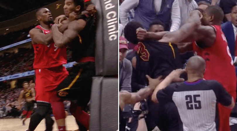 WATCH: Serge Ibaka and Marquese Chriss throw punches, massive fight between Cavs and Raptors