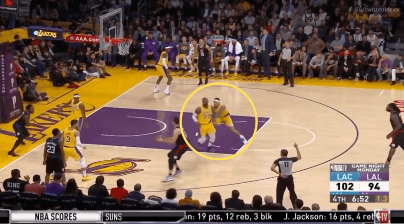 WATCH: Kyle Kuzma literally pushes LeBron James to play some defense vs Clippers