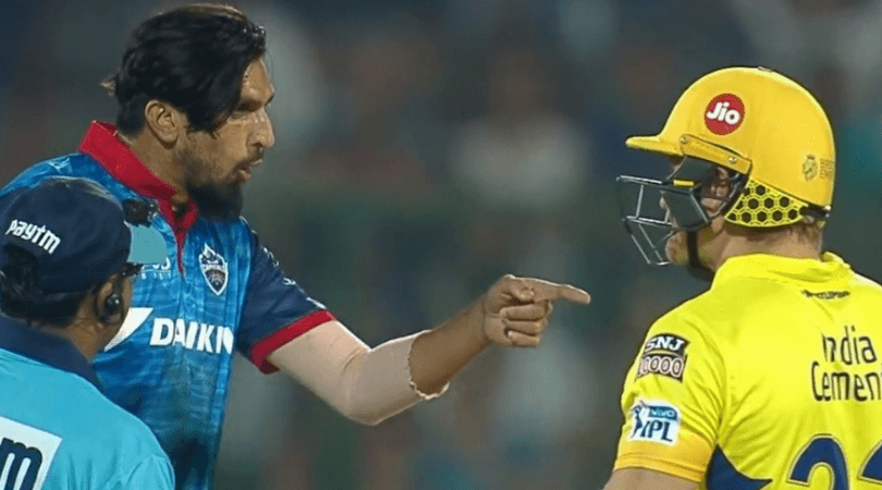 Shane Watson argues with Ishant Sharma and Kagiso Rabada