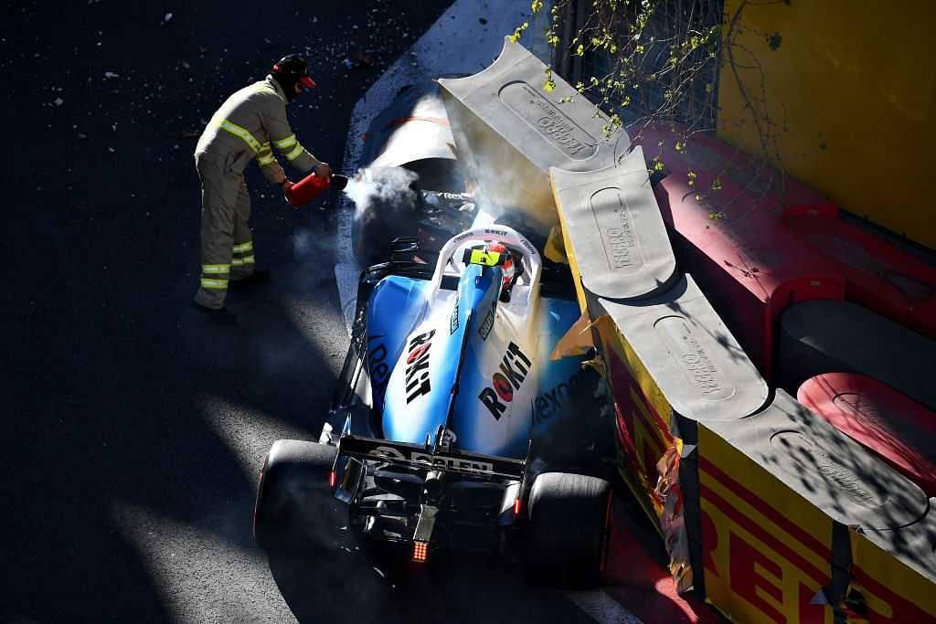 Robert Kubica crash at Azerbaijan GP: Williams driver crashes into wall at castle section