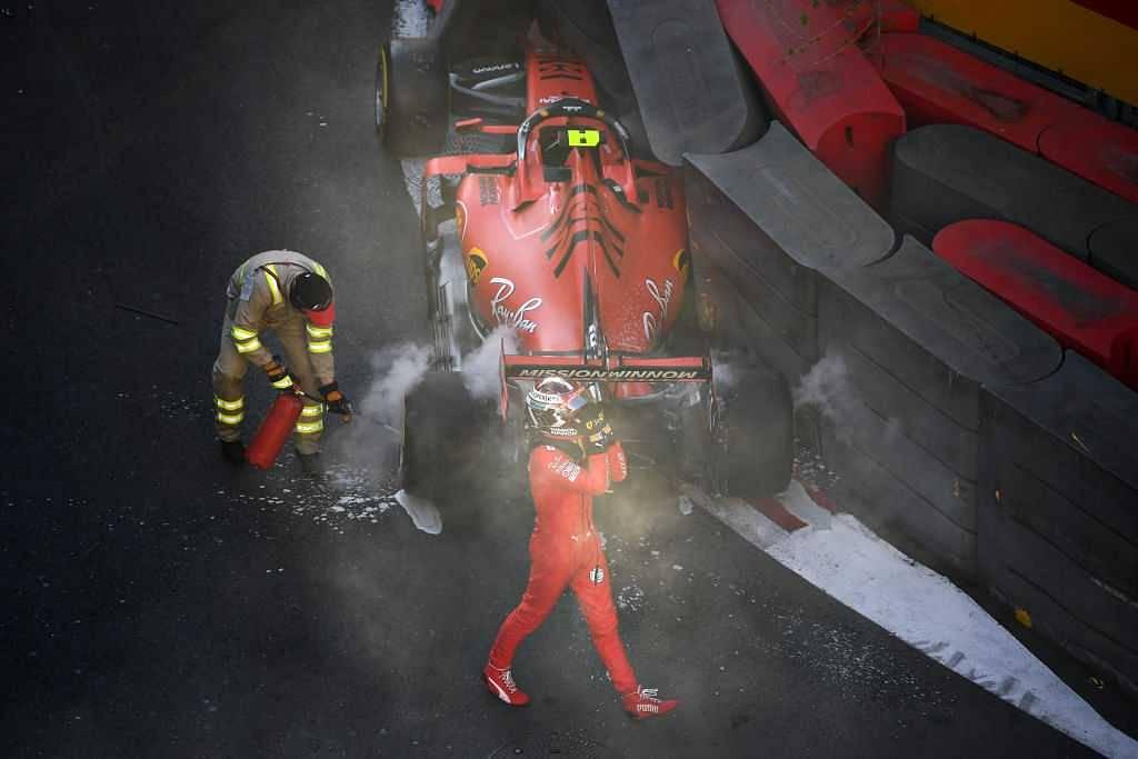 Charles Leclerc crash: Watch Ferrari driver crash into barrier at Azerbaijan Grand Prix