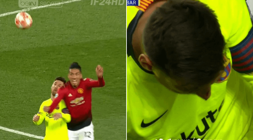 Manchester United vs Barcelona: Lionel Messi left blood faced by Smalling challenge