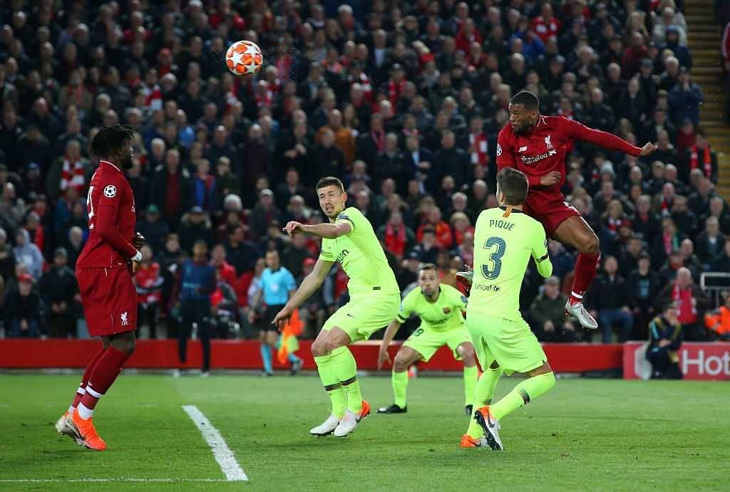 Georginio Wijnaldum goal vs Barcelona: Liverpool midfielder scores two to put Liverpool level with Barcelona