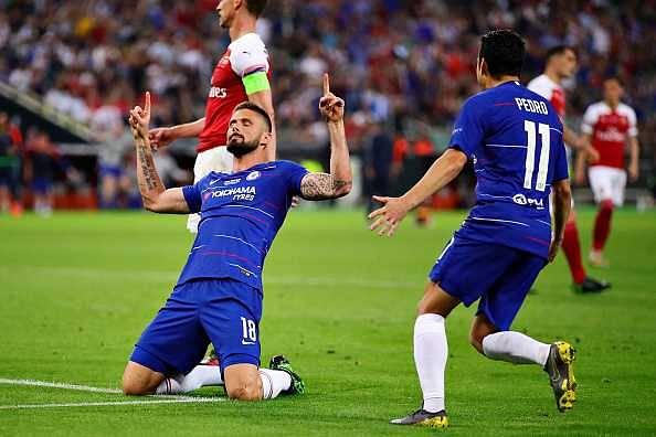 Olivier Giroud Vs Arsenal: Watch Chelsea's striker handing over lead to the Blues in the Europa League final