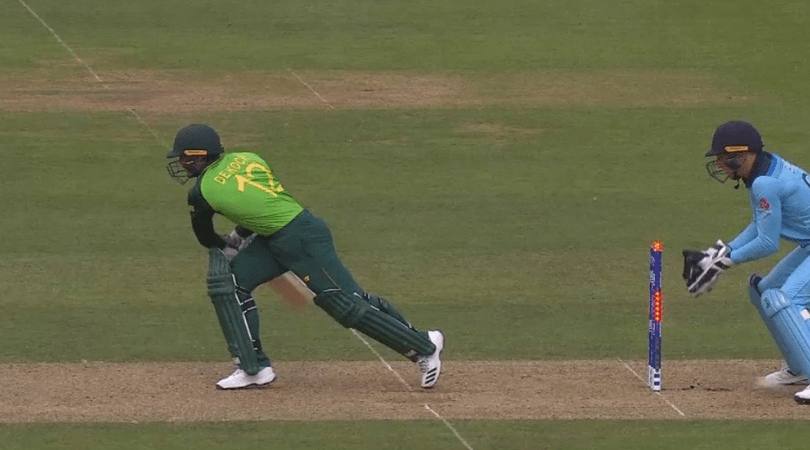 WATCH: Quinton de Kock gets reprieve as bails don't fall off during England vs South Africa World Cup match
