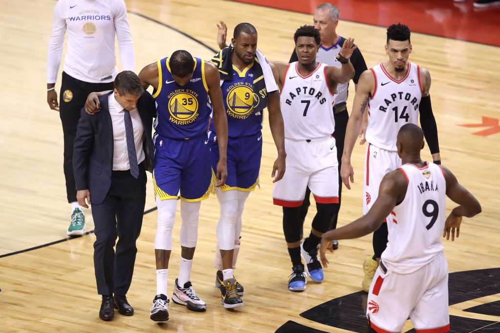 Kevin Durant injury: Toronto Raptors fans cheer as Kevin Durant leaves NBA finals game 5 with an injury