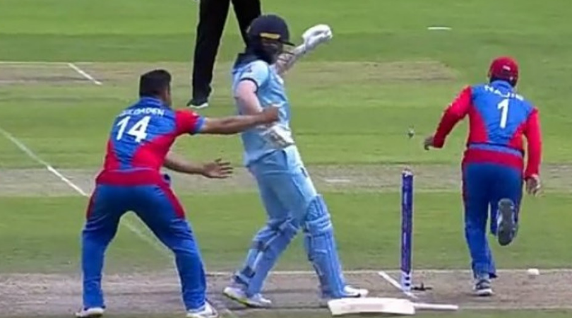 WATCH: Gulbadin Naib stops Eoin Morgan from reaching the crease during England vs Afghanistan World Cup match