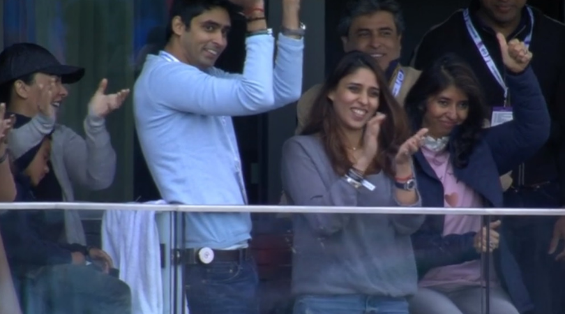 WATCH: Indian dressing room and Rohit Sharma's wife celebrate his century vs Pakistan in ICC Cricket World Cup 2019