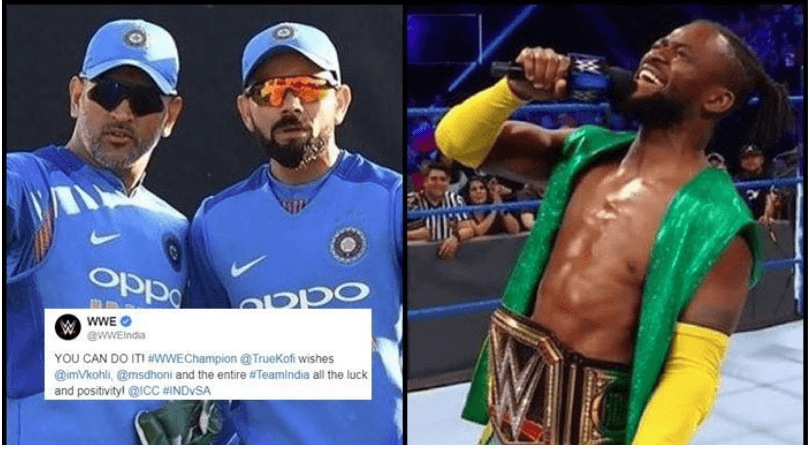 WWE Champion kofi kingston wishes the Indian cricket team for ICC world cup 2019 on social media.