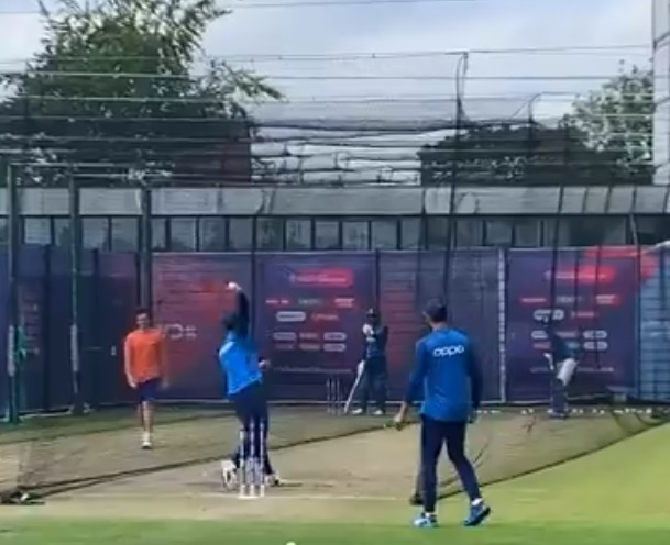 Watch MS Dhoni bowl: Veteran Indian player Dhoni bowls leg spin in nets ahead of West Indies game