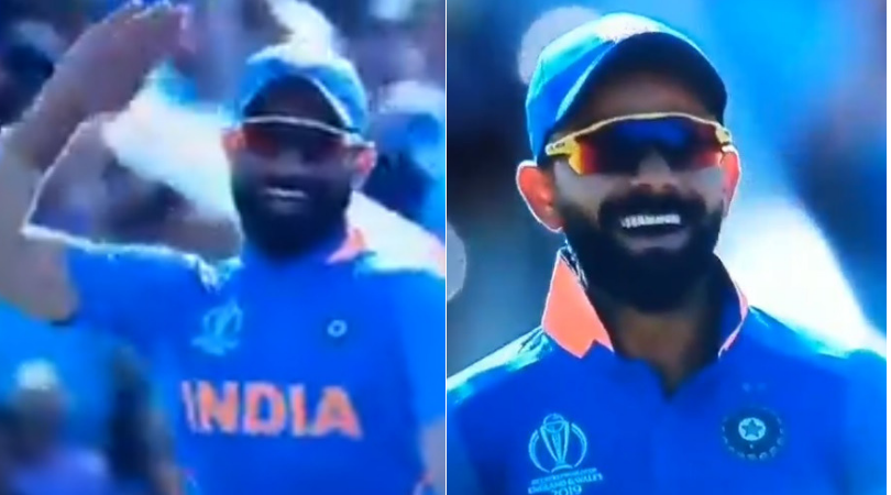 Virat Kohli and Mohammad Shami emulate Sheldon Cottrell's military salute celebration post his dismissal | Cricket World Cup 2019