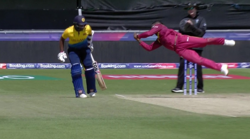 Fabian Allen catch vs Sri Lanka: Watch West Indies all-rounder affects exceptional caught and bowled to dismiss Kusal Mendis