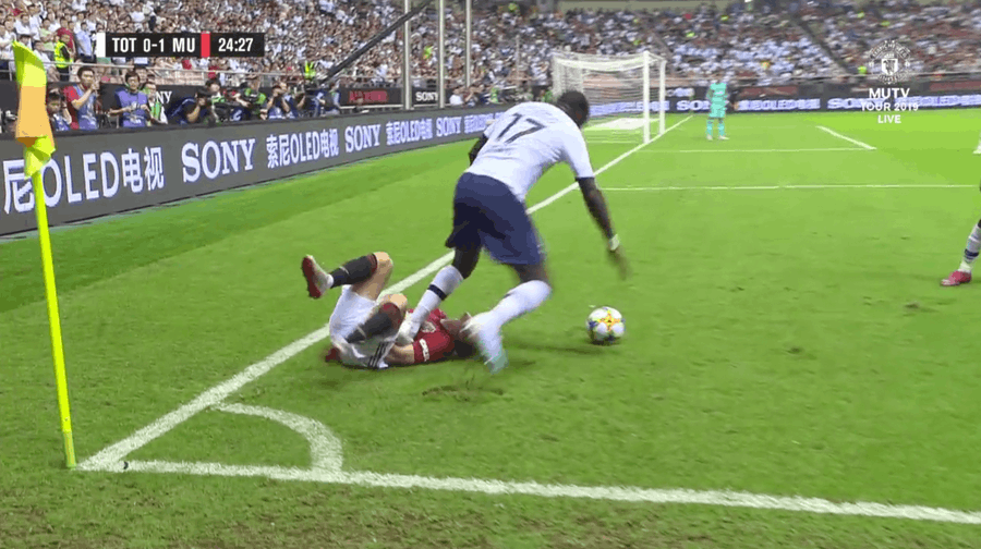 Tottenham's Moussa Sissoko stamps on Daniel James during pre-season friendly against Manchester United