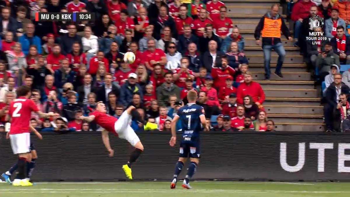 Phil Jones somehow handles the ball while attempting overhead kick