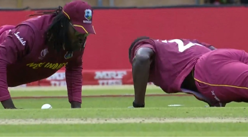WATCH: Chris Gayle and Carlos Brathwaite do push-ups after former takes a low catch to dismiss Rahmat Shah