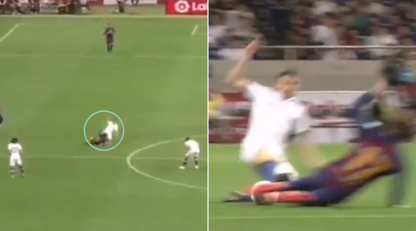 Jorginho's double footed tackle on Antoine Griezmann leaves the new signing in pain agony