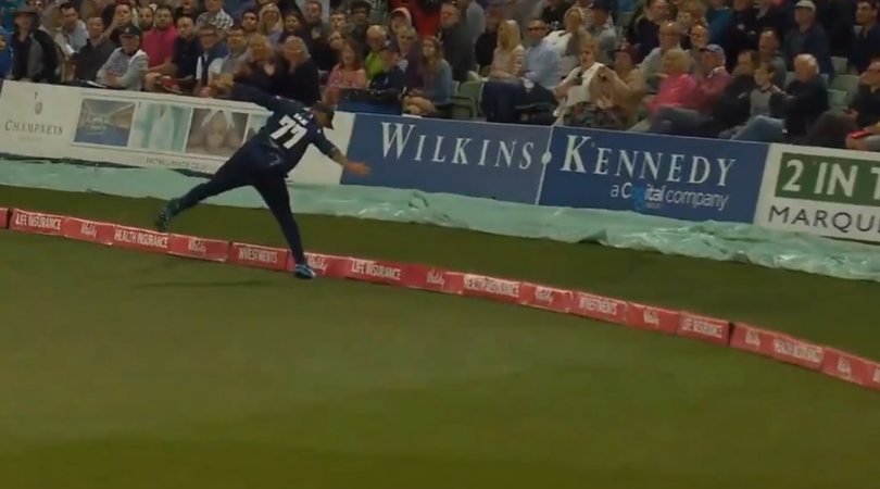 WATCH: Mohammad Nabi grabs exceptional boundary catch to dismiss Jamie Overton in Vitality Blast