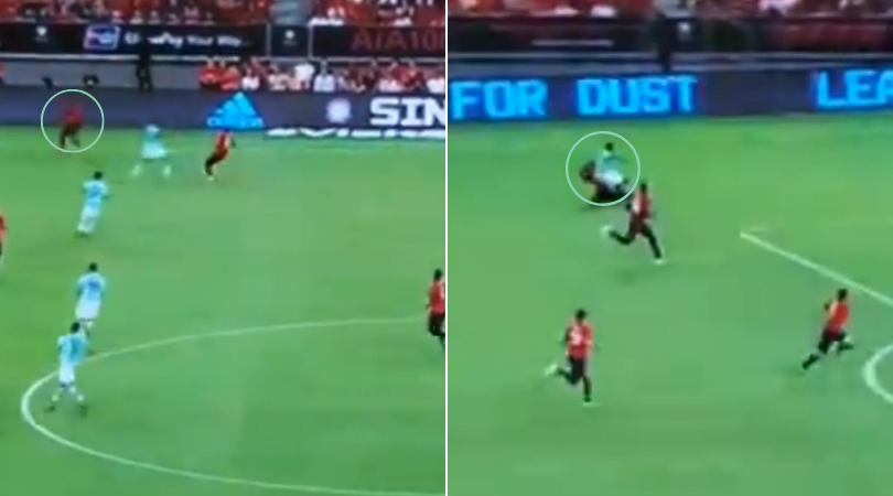 Aaron Wan-Bissaka darts back to win the tackle against losing the ball up the field