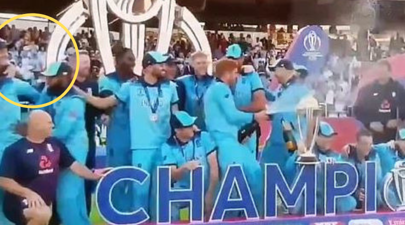 WATCH: Adil Rashid and Moeen Ali run away as England players start spraying champagne bottles post their maiden World Cup win