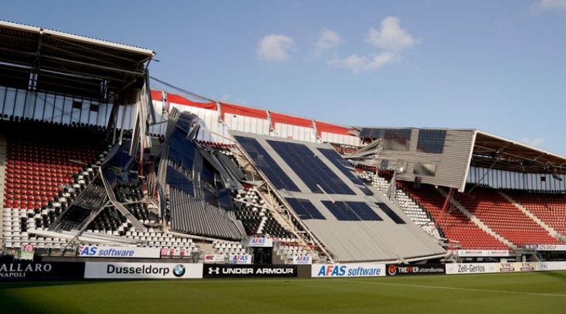 AZ Alkmaar's AZ Stadium roof collapses after strong winds hit the Netherlands
