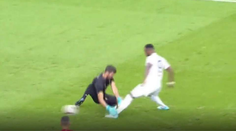 Watch Liverpool Goal Keeper Alisson fumble terribly to concede a penalty against Lyon