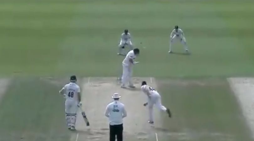 WATCH: Mark Cosgrove helmets the ball to first slip during Durham vs Leicestershire Division Two match