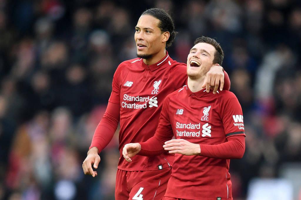 Watch Van Dijk and Robertson copy Lacazette and Aubameyang celebration ahead of Premier League clash against Arsenal
