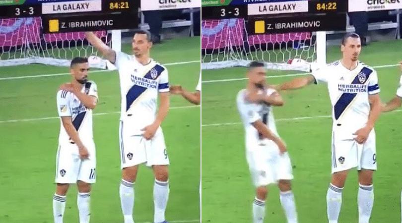 Zlatan Ibrahimovic pushes his own team mate while setting freekick wall