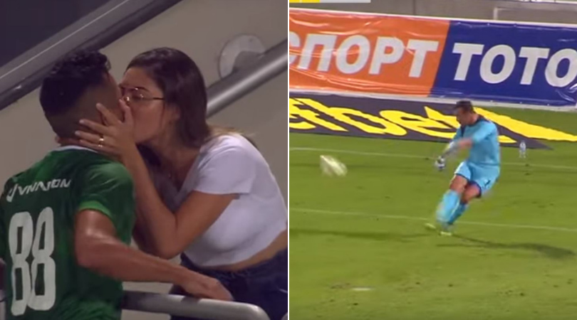 Player celebrates ruled out goal by kissing his wife in Bulgarian League