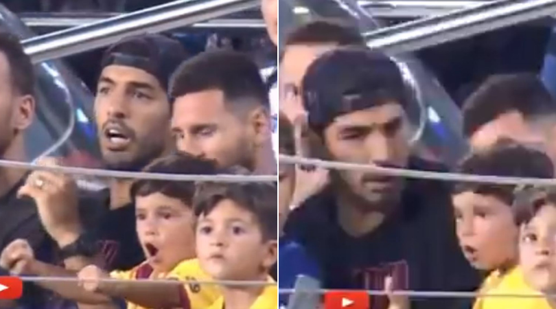 Lionel Messi and Luis Suarez react after Messi's son celebrates Real Betis goal