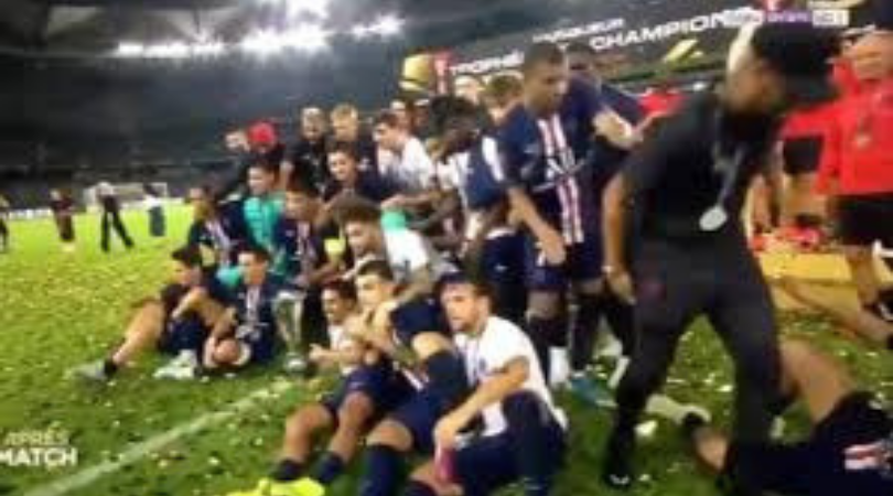 Watch: Kylian Mbappe pushes Neymar during PSG's Super Cup victory celebrations