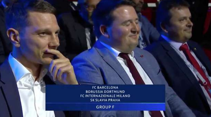 Slavia Prague delegates comical reaction to drawing the Champions League group of death leaves everyone in splits