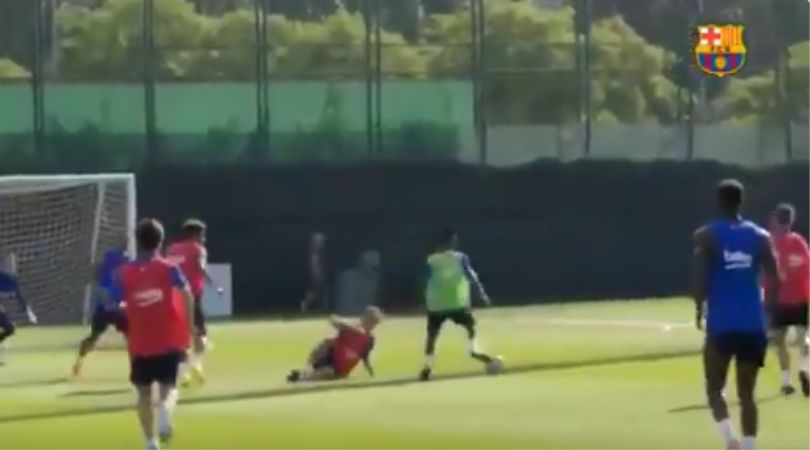 Ansu Fati: 16-year-old Barcelona wonderkid toys veteran midfielder in training