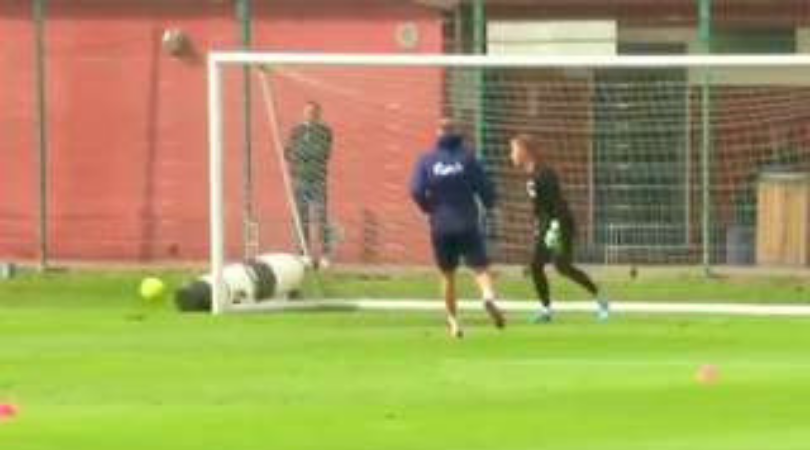 Watch: Nicklas Bendtner's training footage shows that the striker is back at his best