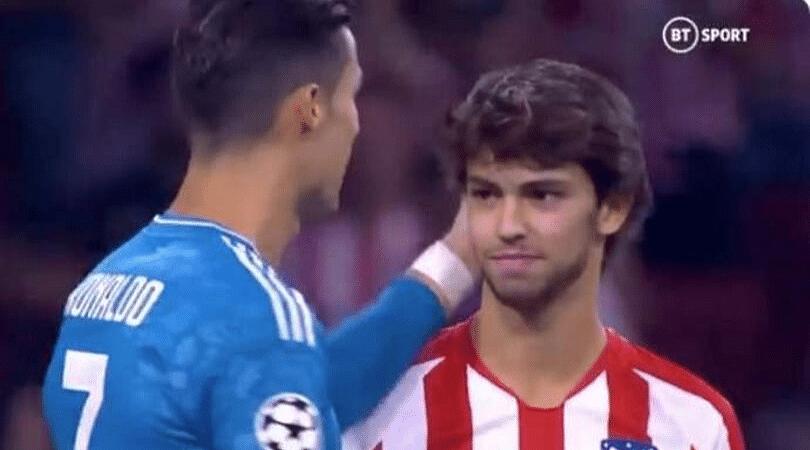 Cristiano Ronaldo and Joao Felix share a sweet moment before Juventus vs Atletico Madrid