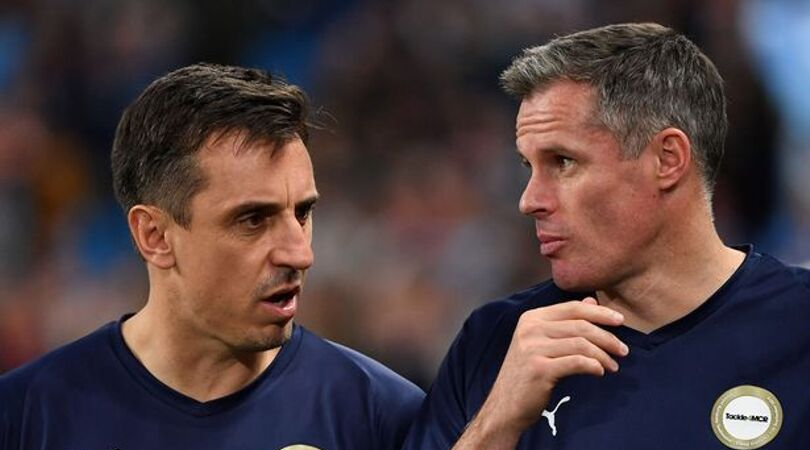 Gary Neville and Jamie Carragher have a fall out just a minute into Vincent Kompany's testimonial