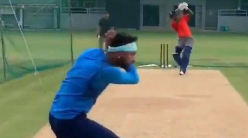 WATCH: Hardik Pandya nearly knocks off Krunal Pandya's head during net session