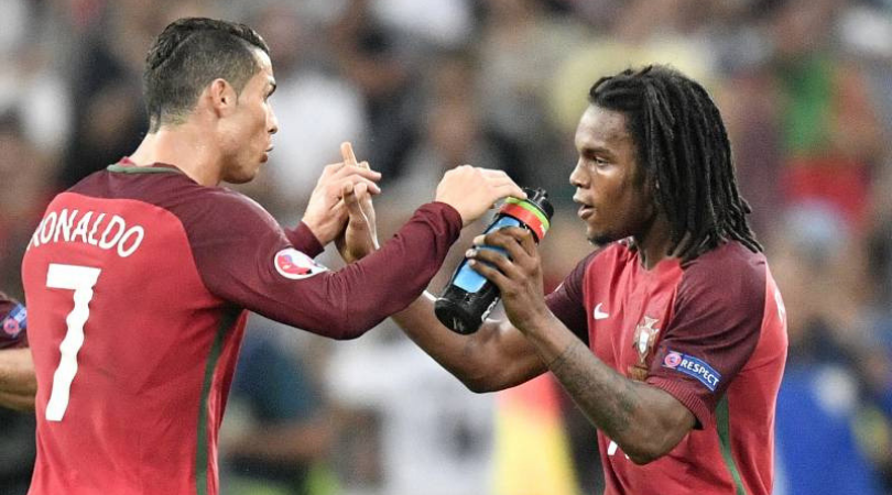 Cristiano Ronaldo gets a good sniff at Renato Sanches' hair during training