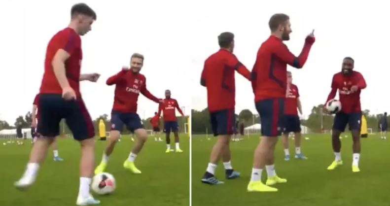 Arsenal News: Shkodran Mustafi hilariously nutmegged by new boy Kieran Tierney